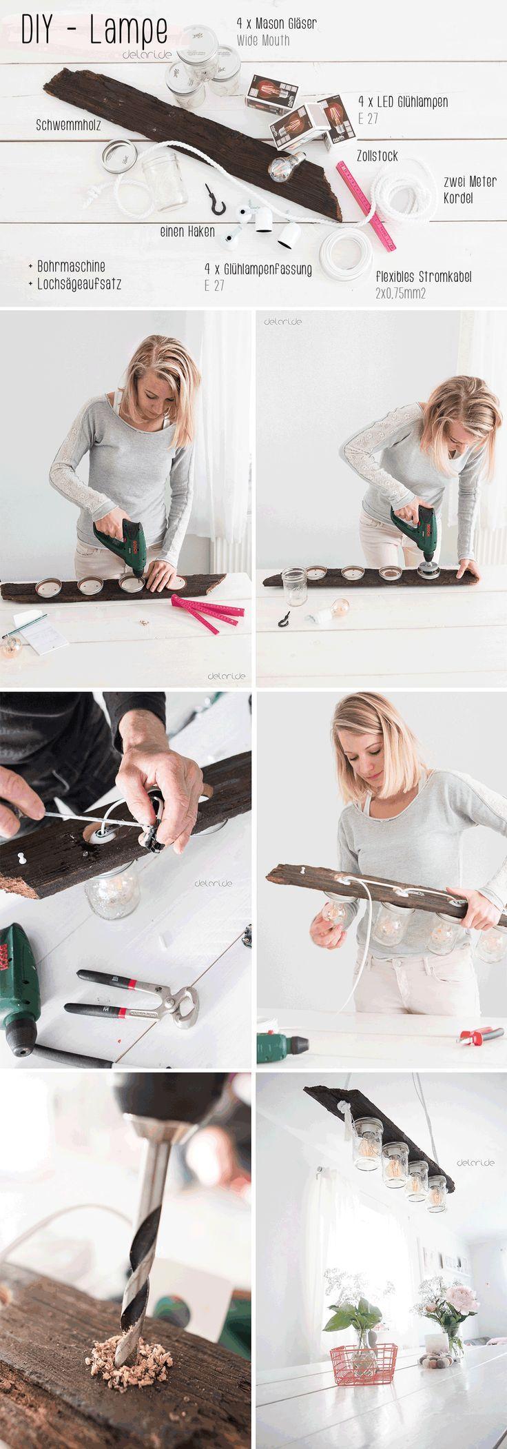 DIY – Lampe – Eine ucycling Idee für Mason Jar Gläser und Schwemmholz – eine L… #masonjardecorating