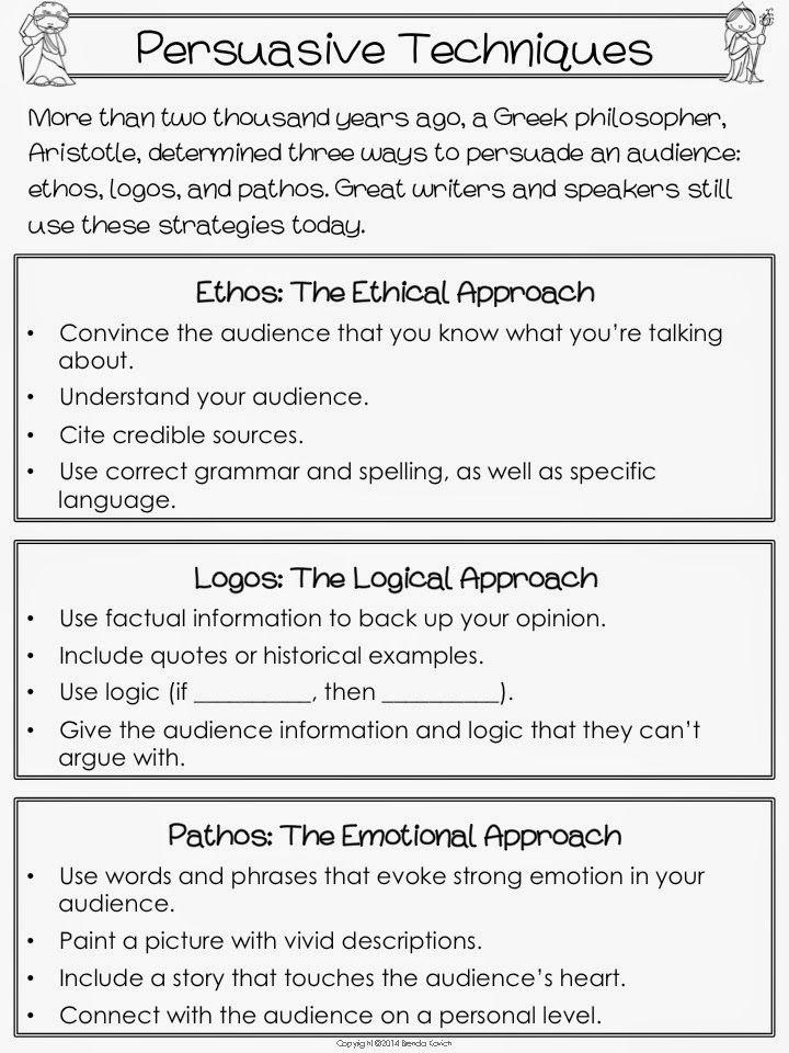 Craftsmanship Nice Ethos Pathos Logos Aristotelian Appeals Logos – Persuasive Techniques Worksheet