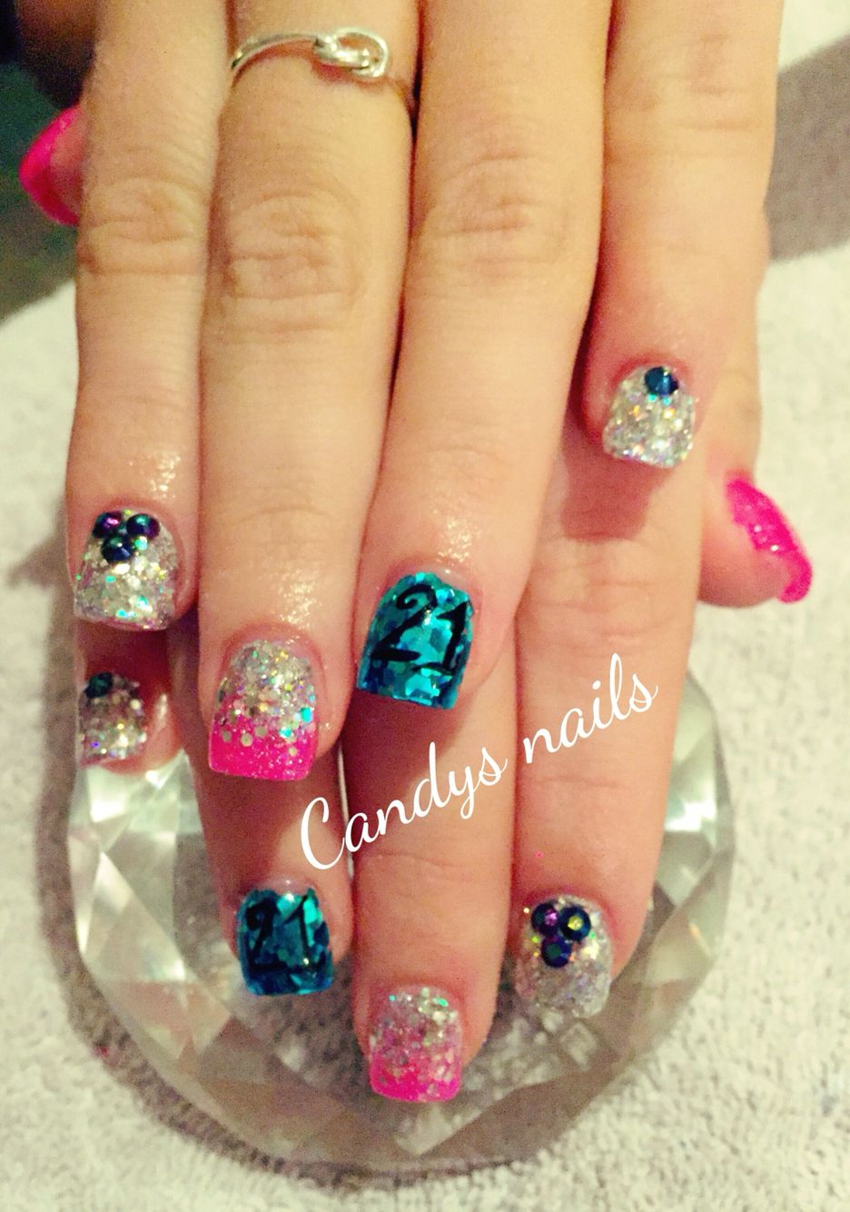 Blue and pink 21st birthday acrylic nails!   Candys Nails ...