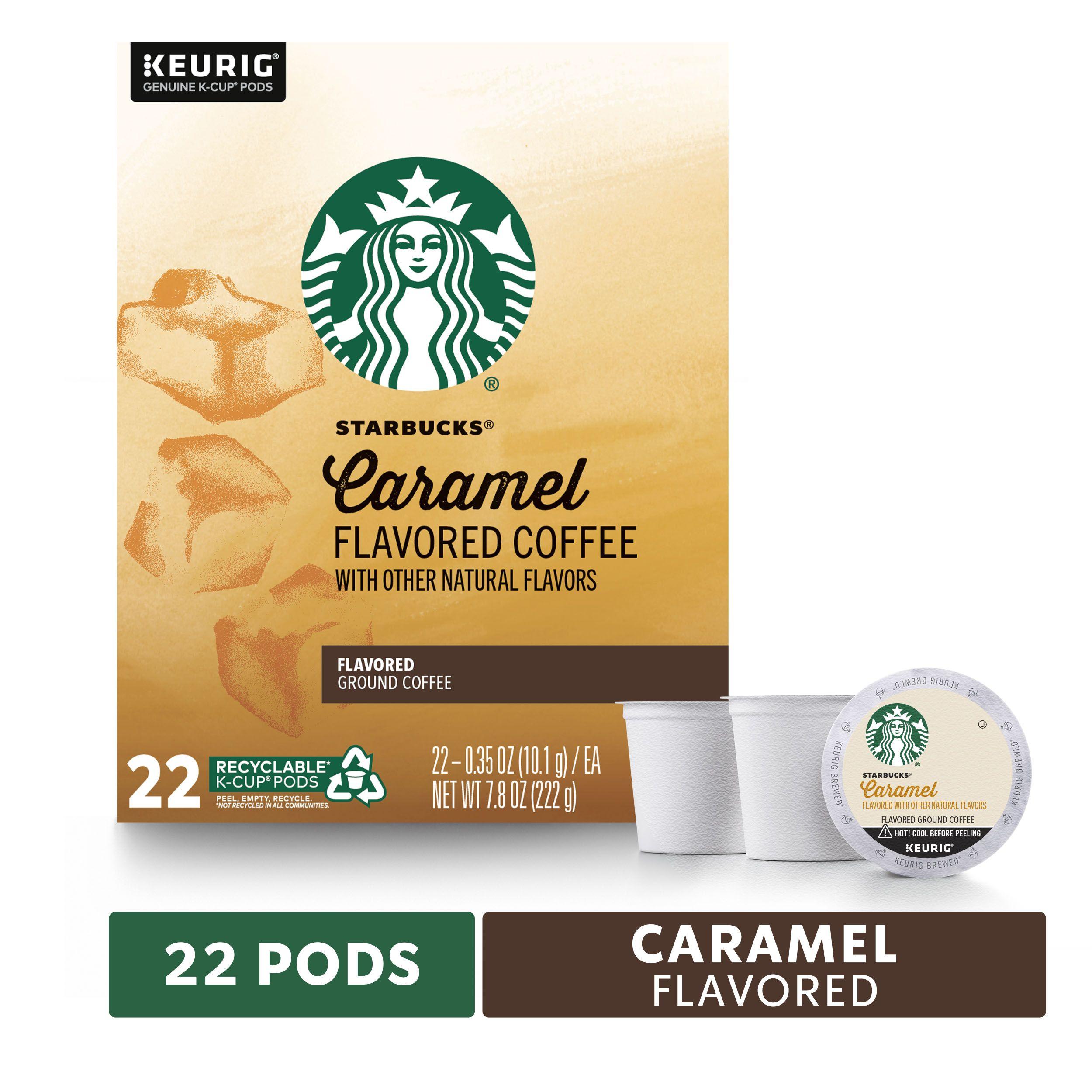 Starbucks caramel flavored medium roast single cup coffee