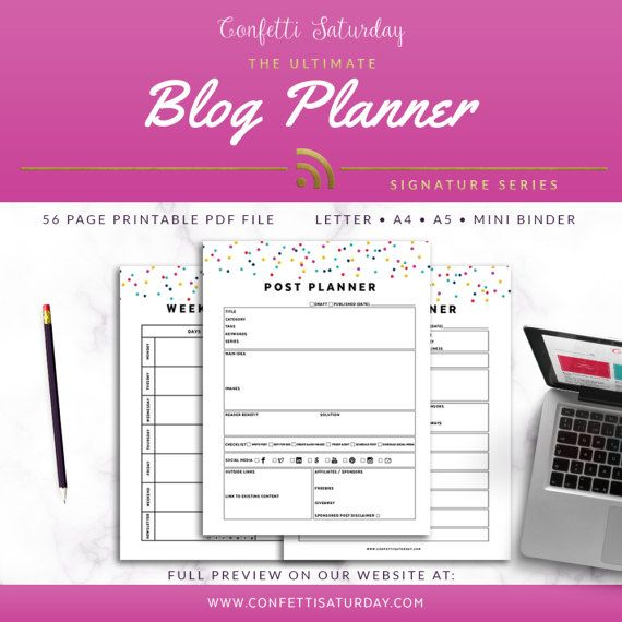 Blog Planner Printable, NEW PAGES Signature Confetti