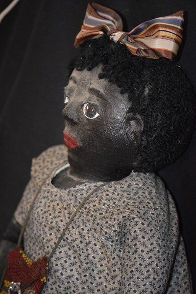Doll Black Cloth Oil Cloth Rag Doll Americana Folk Art - Oldeclectics #dollshopsunited