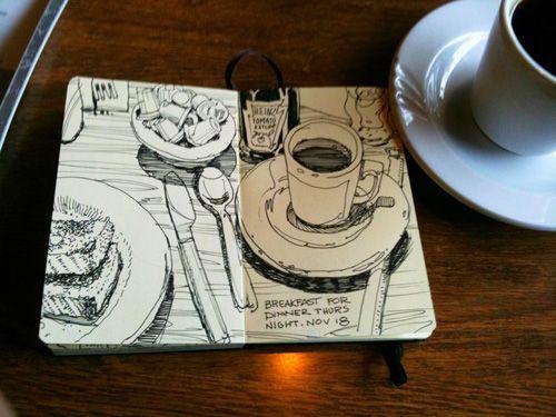 Cuaderno de bocetos de Graham Smith-Restaurant Muchos buenos dibujos de Art Journal en su web …