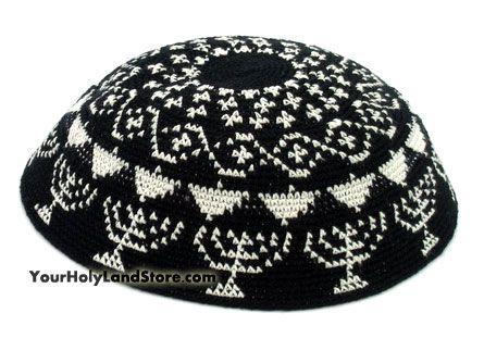 Hand Knitted Kippah with Menorahs | Kipa, snood | Pinterest