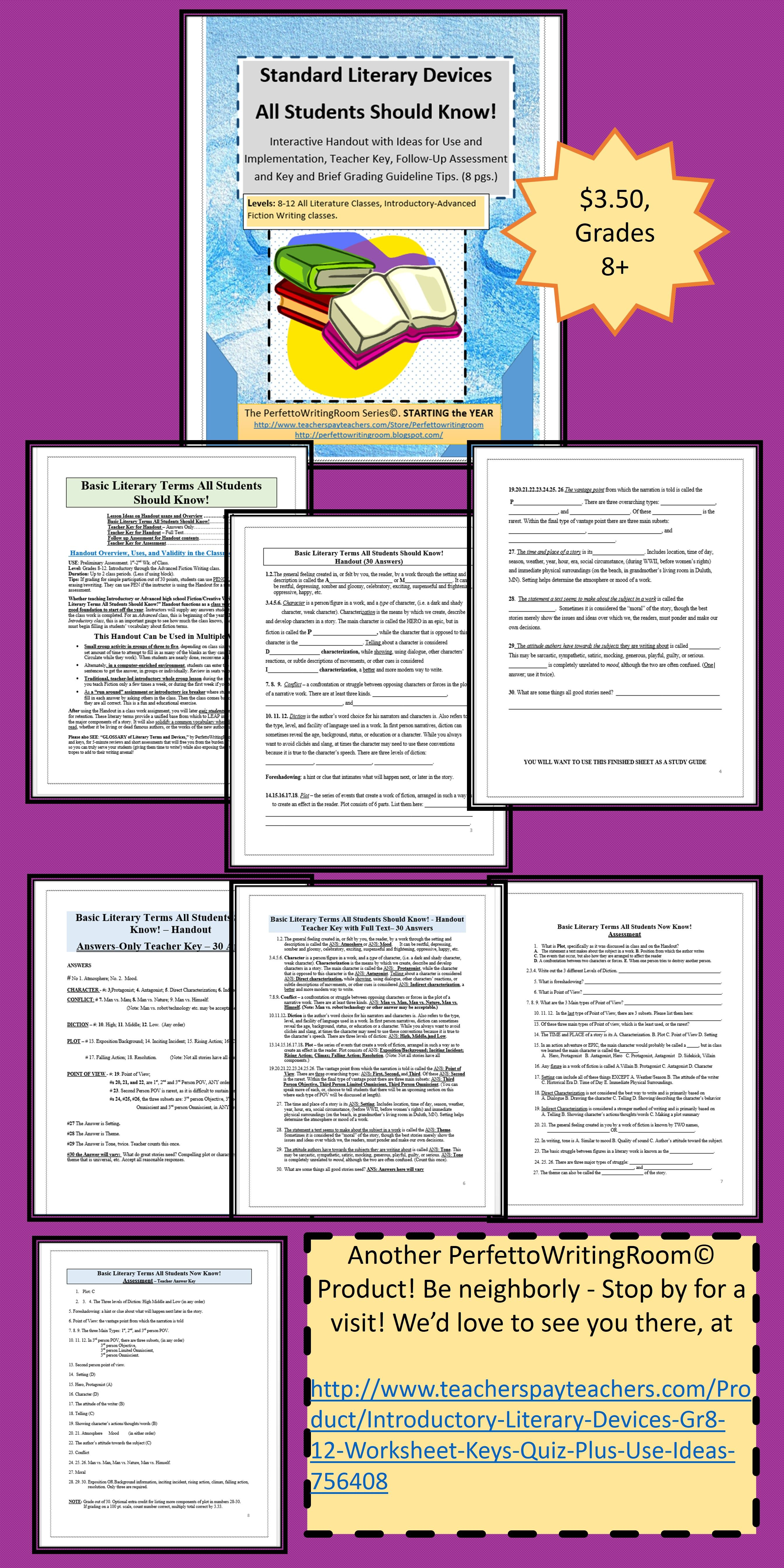 hight resolution of Introductory Literary Devices- Gr.7-12 Worksheet; Keys