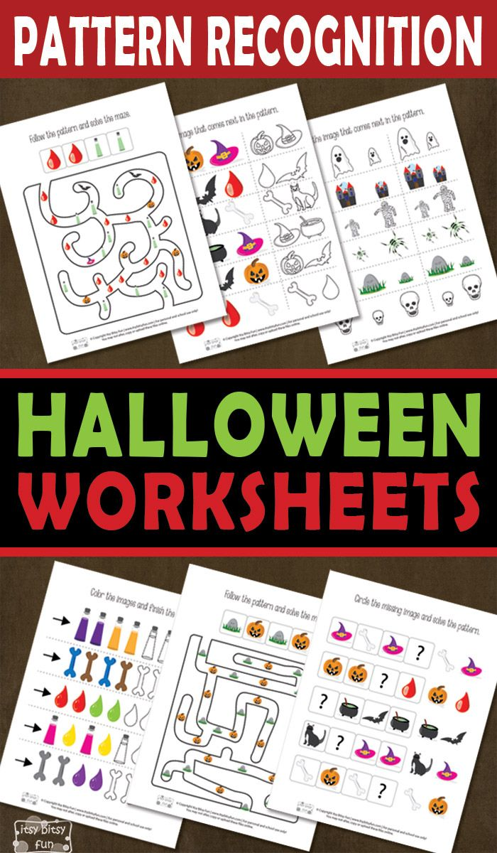 halloween pattern recognition worksheets Pattern