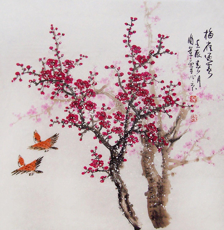 Chinese Artwork Blossom Painting Chinese Watercolour Painting Original Chinese Art Cherry Blossom Painting Blossom Tree Tattoo Cherry Blossom Art