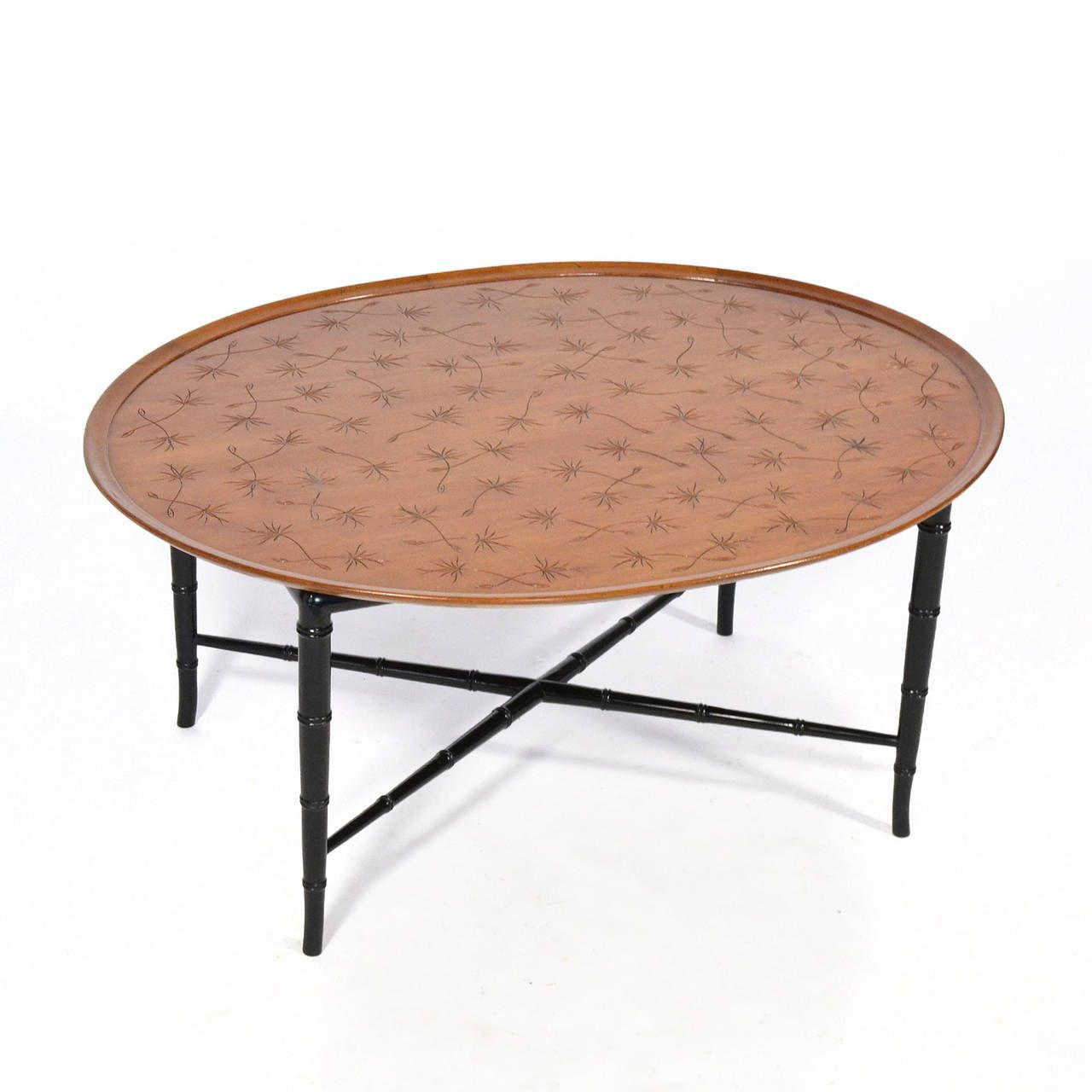 Kittinger Coffee Table with Incised Top and Faux Bamboo Legs | From a unique collection of antique and modern coffee and cocktail tables at https://www.1stdibs.com/furniture/tables/coffee-tables-cocktail-tables/