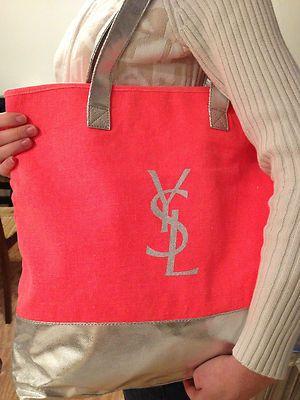 YSL Yves Saint Laurent Shopper Black Shoulder Logo Shopping Tote bag VIP  Gift c04ef439a2
