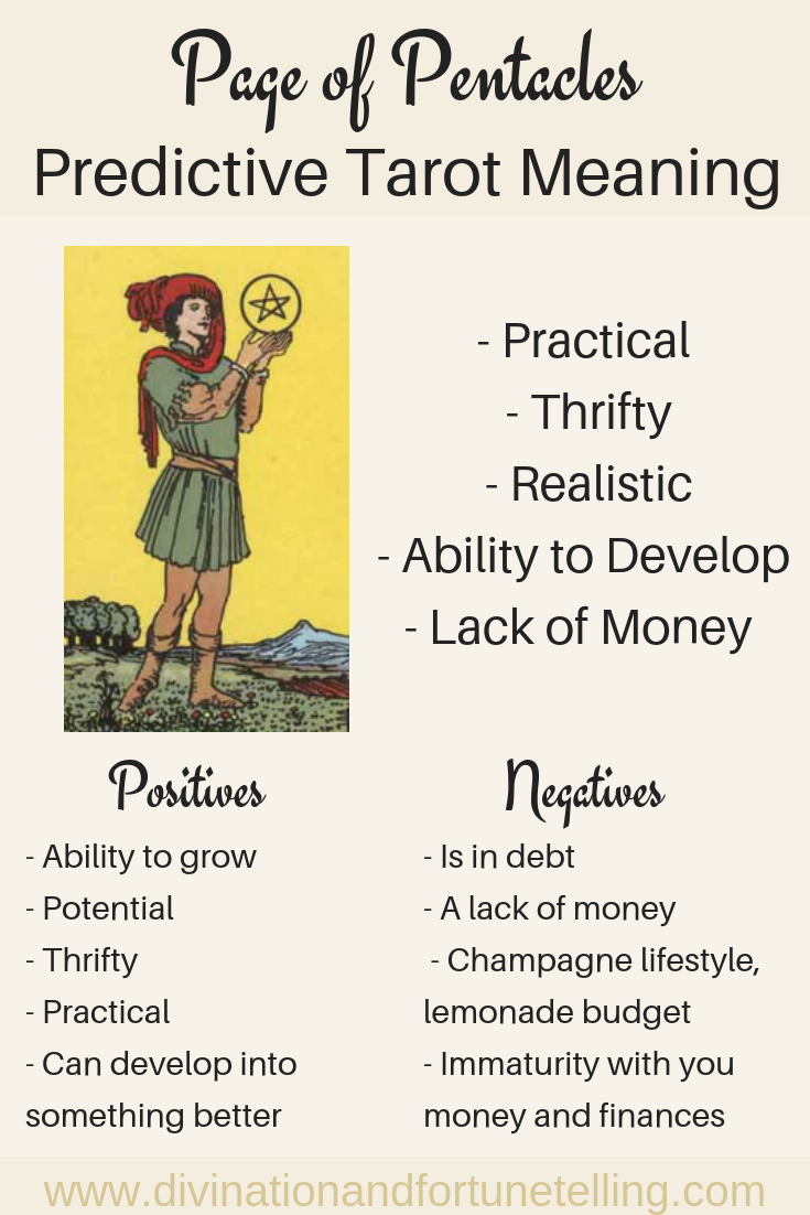Page of Pentacles: Predictive Tarot Card Meanings | witchy