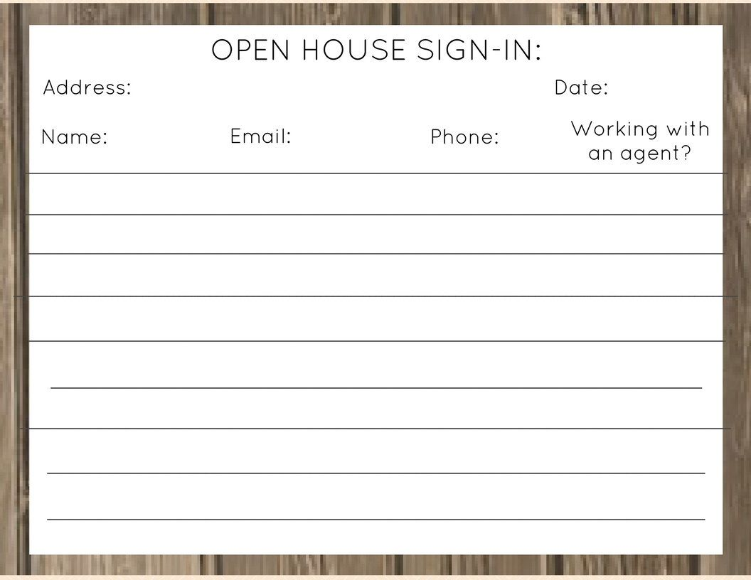 Open House Sign In Sheet Wood
