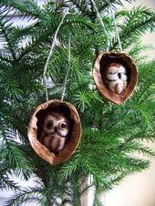 felted owl in walnut heirloom Christmas ornament saw whetstone owl Needle felted owl in walnut heirloom Christmas ornament saw whetstone owl Needle felted owl in walnut h...