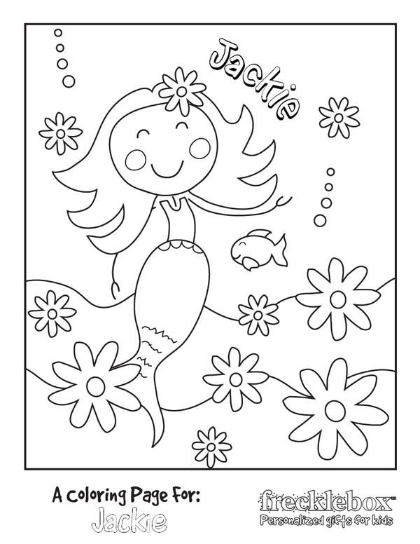 Mermaid With Flowers Coloring Page Name Coloring Pages Coloring