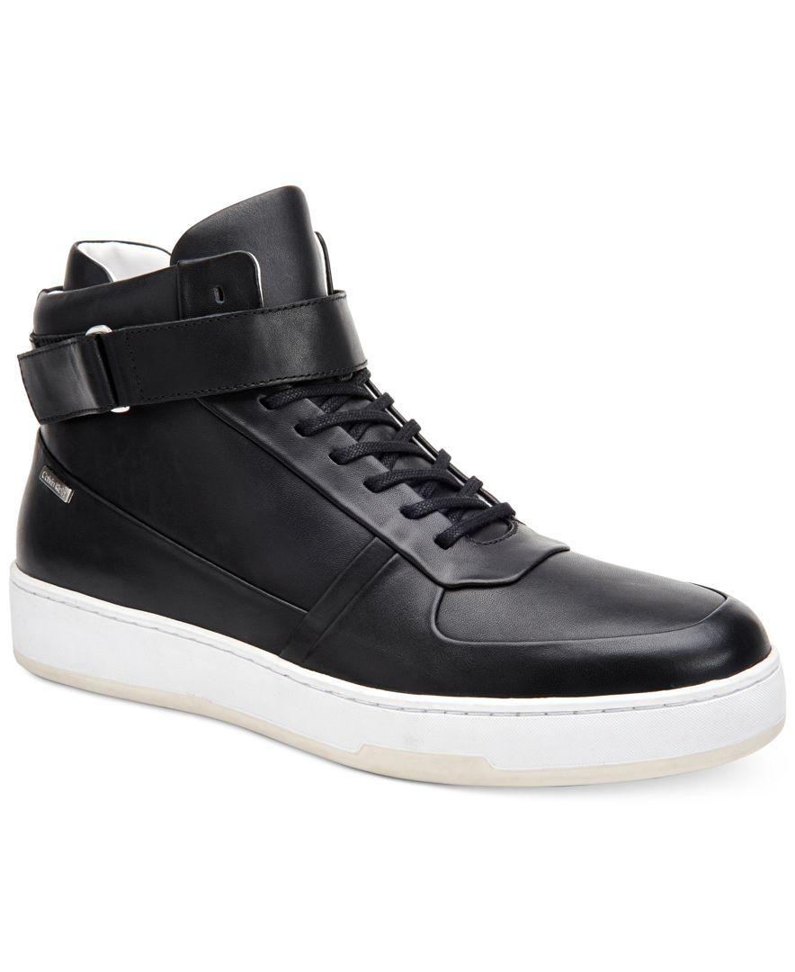 Calvin Klein Men s Navin Fashion Athletic Leather High-Top Sneakers Mens  High Top Shoes 6fa17c975e3