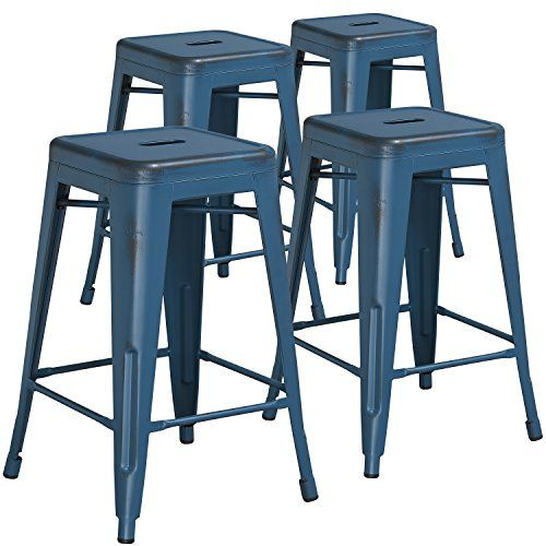 Flash Furniture High Backless Distressed Kelly Metal Indoor