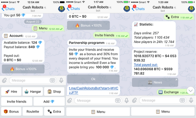 Telegram - How To Earn Bitcoin with Cash Robots $100 Daily