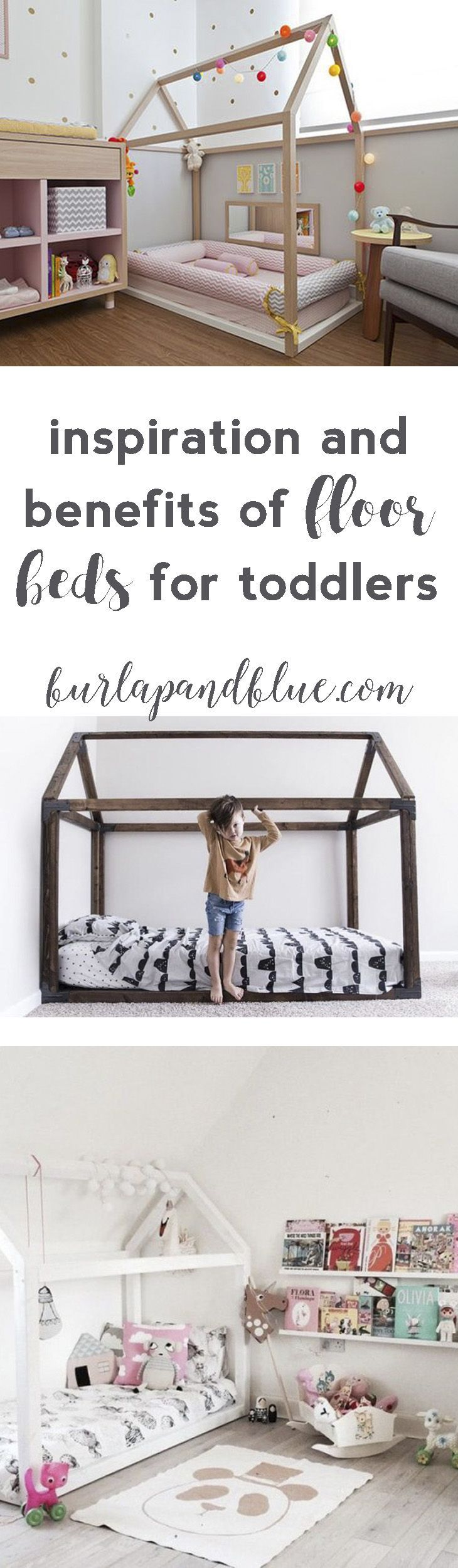 Wild and free toddler room. Tee pee Montessori bed on the