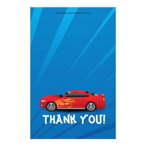 Race Car Flames Boyu0027s Birthday Thank You Fold-Over Flyers Cars - car flyers