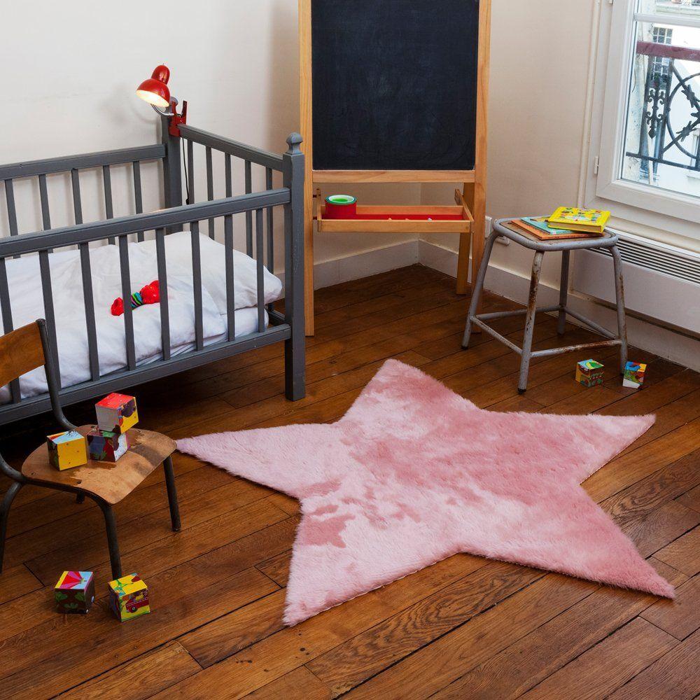 tapis enfant pilepoil - etoile rose poudré 140 x 140 cm - fausse ... - Cuisine Fabrication Francaise