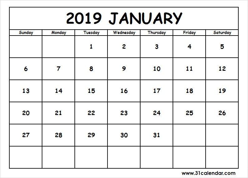 January 2019 Printable Calendar Dates Editable 31 calendar