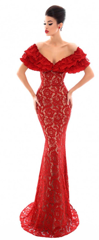 Chic lace offtheshoulder neckline sheath column evening dress