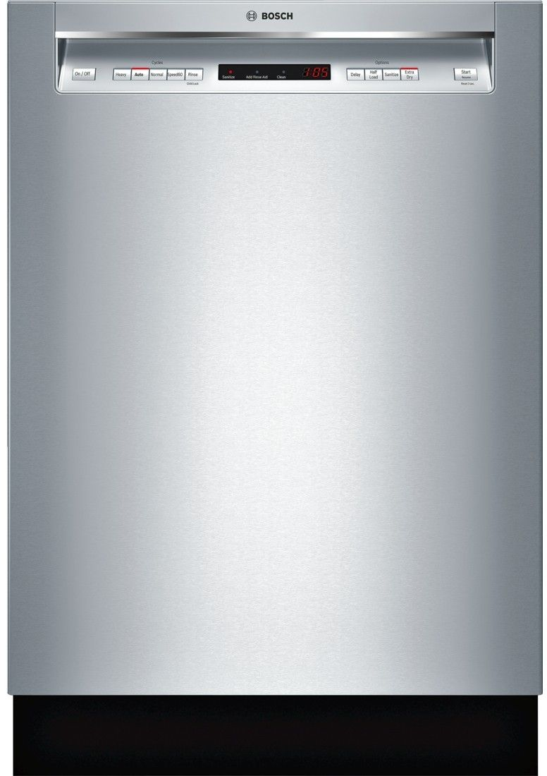 Bosch SHEM63W55N 24 Inch Full Console Built-In Dishwasher with 16 Place Settings, 5 Wash Cycles, 3rd Rack, 44 dBA Sound Level, AquaStop®, FlexSpace™, RackMatic®, Speed60®, InfoLight®, Delay Start, NSF® Certified Sanitize and ENERGY STAR®: Stainless Steel