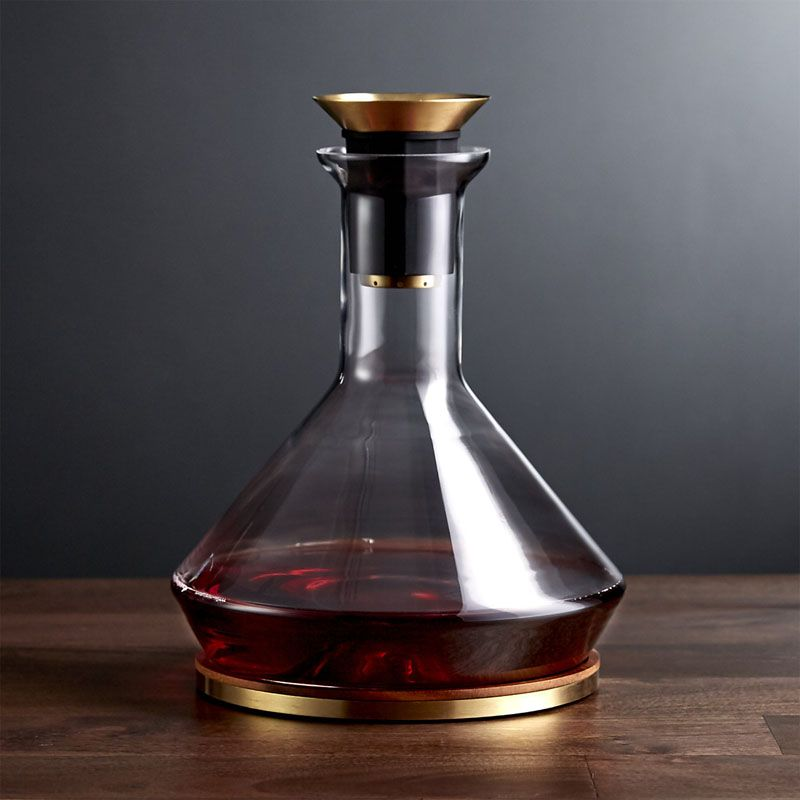 10 Unique Modern Wine Decanters Pour Your Bottle Of Wine Into This Glass And Brass Decanter That Features A Filter For Catching Sediments And A Wood Bas Drank