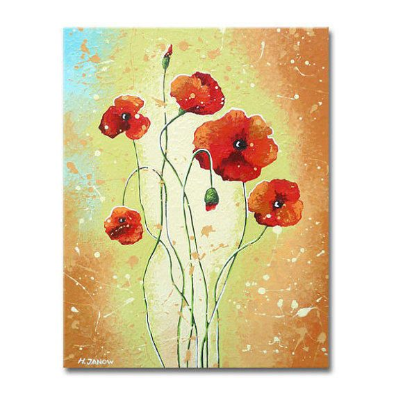 Red Poppy Flower Painting - Original Acrylic Art on Canvas ...