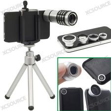 5 in1 Lens 12X Telescope Wide Angle Fish Eye Macro tripod for iPhone 4S 4G DC311