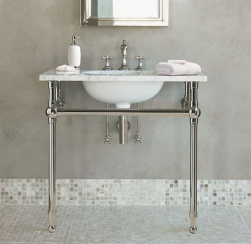 Sink With Chrome Legs Tile Baseboard Console Sink