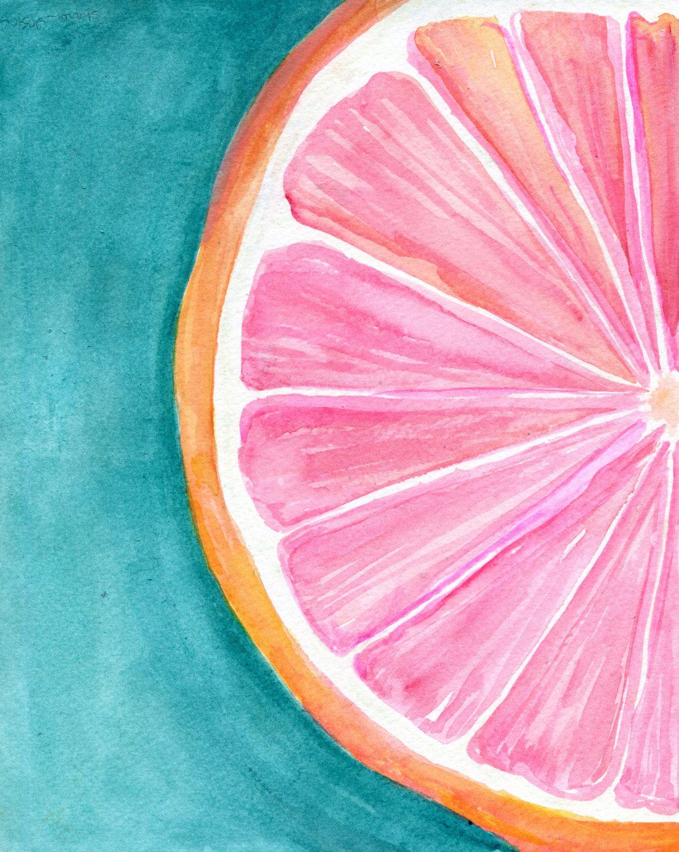 Grapefruit Watercolor Painting, Original Citrus wall ART 8 x 10 kitchen decor, turquoise