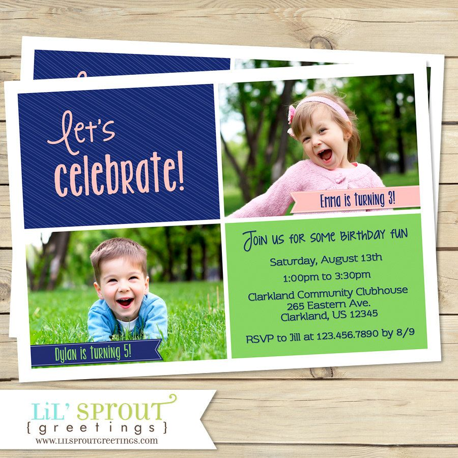 Joint birthday party invitation sibling birthday invitation twin joint birthday party invitation sibling birthday invitation twin birthday invitation boy girl birthday invite printable joint invitation joint stopboris Image collections