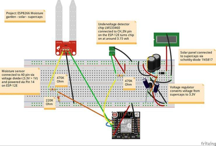 Esp8266 Solar Moisture Sensor With Supercapacitors Hackster Io Solar Sensor Moisturizer