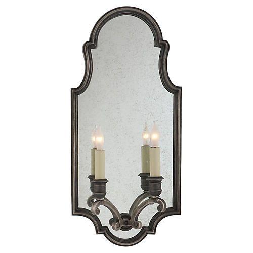 Sussex Framed 2-Light Sconce, Nickel