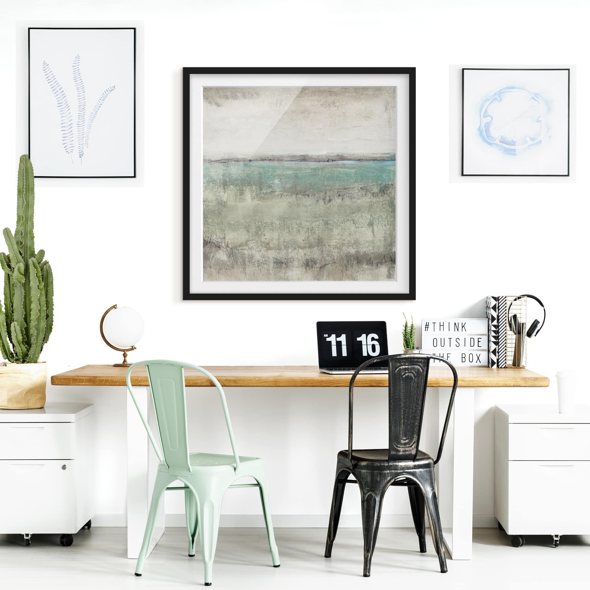 Poster con cornice Horizon Over Turquoise I Quadrato 1