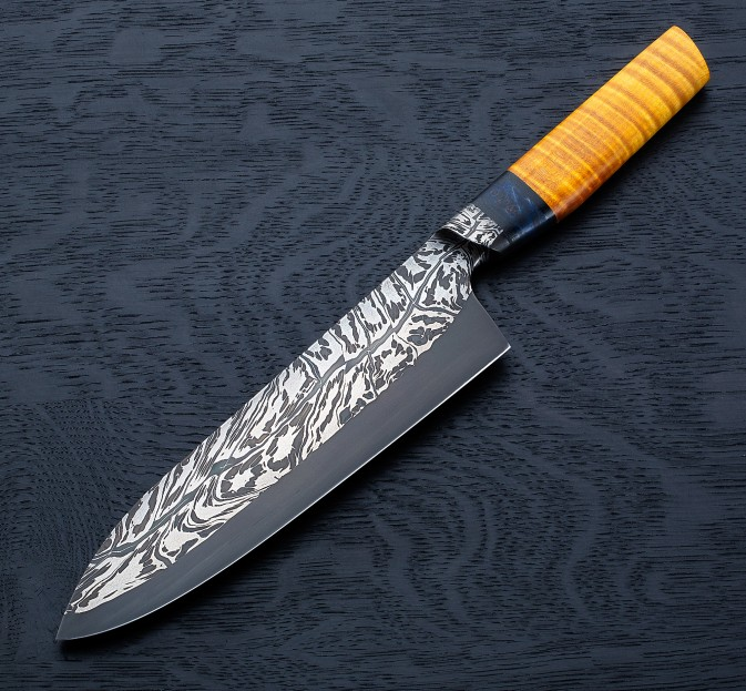 Maple Mosaic Damascus Chef 200mm Eatingtools Com Chef Knife Knife Kitchen Knives