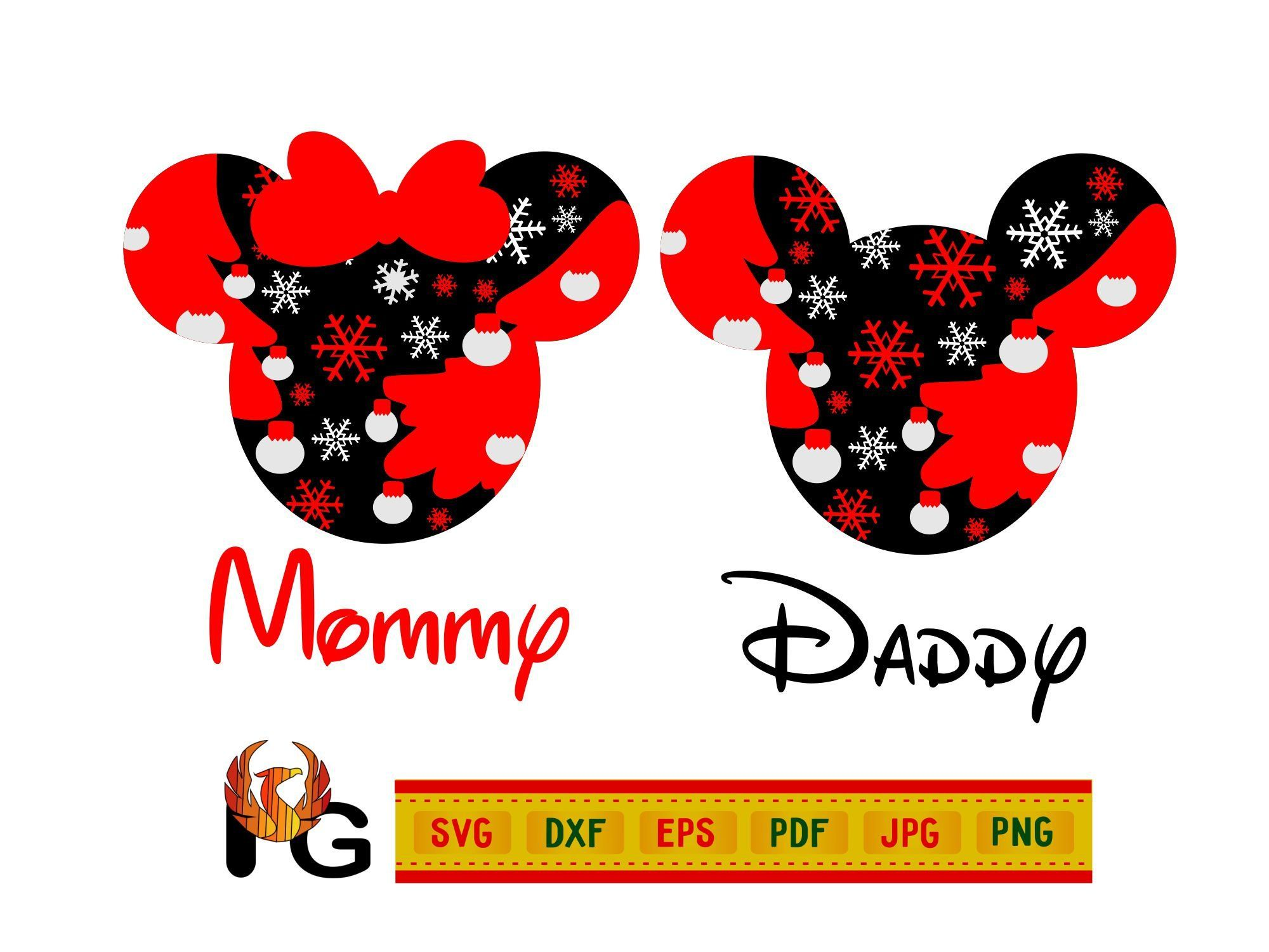 Mickey & Minnie Mouse Head Outline Svg, Mommy Svg, Dad Svg