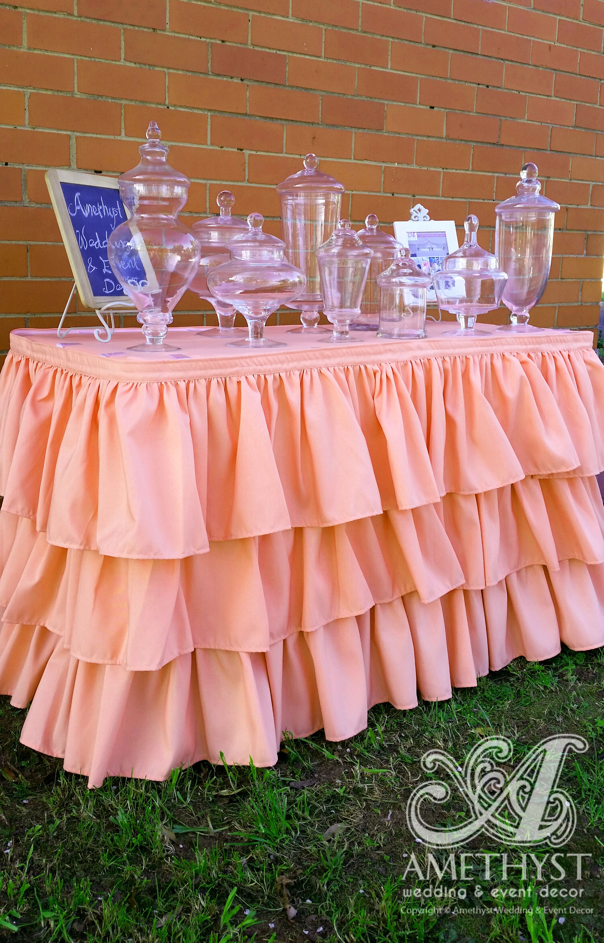 Peach 3 layer ruffle table skirting perfect for candy buffet / lolly ...