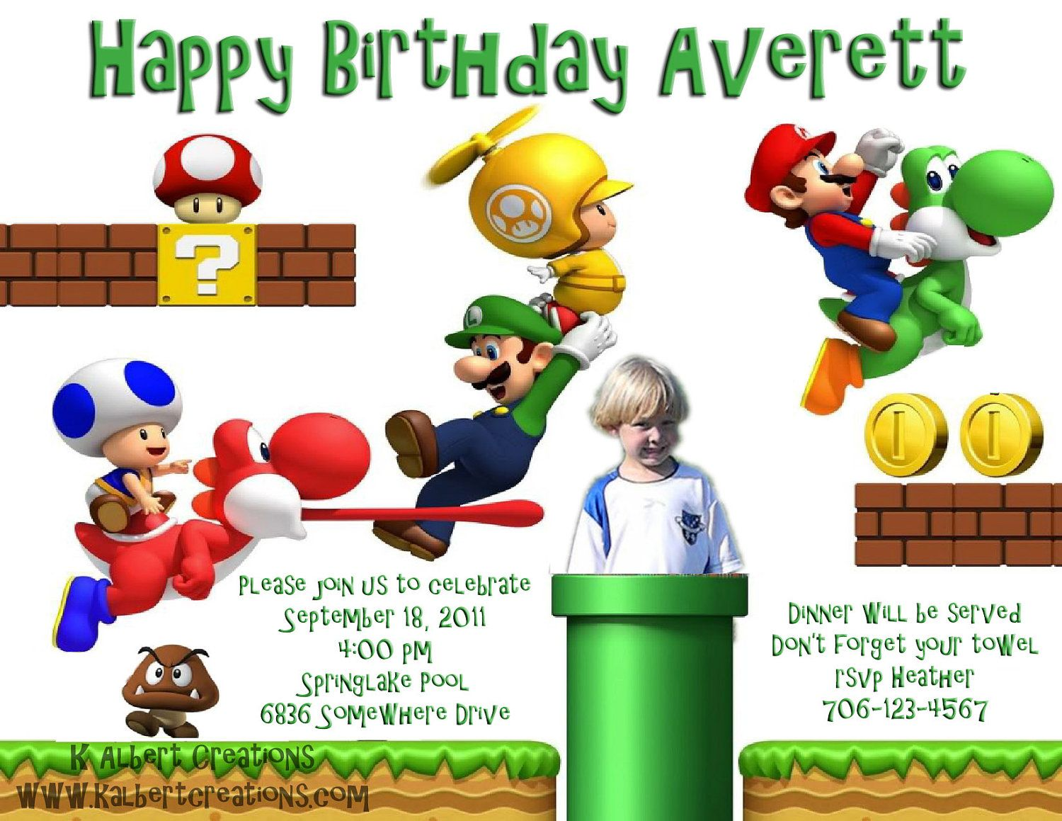Mario Birthday Invitation Printable by KAlbertCreations2 on Etsy ...