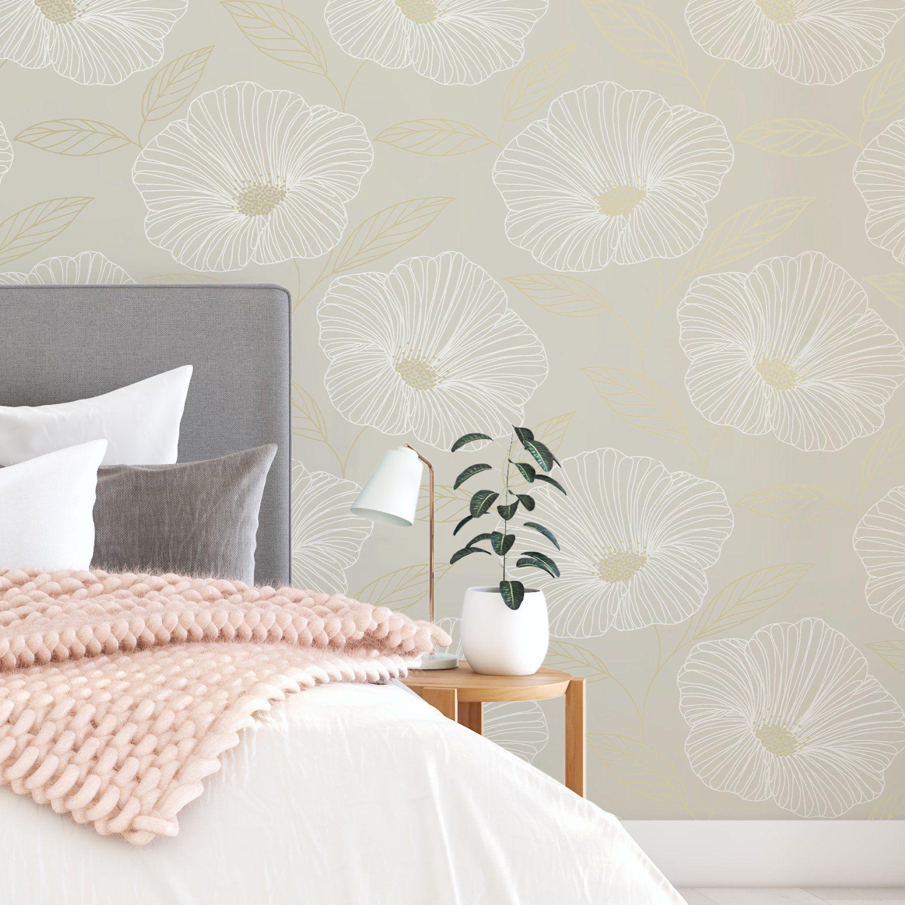 Nuwallpaper Dove Floweret Peel Stick Wallpaper Walmart Com Peel And Stick Wallpaper Nuwallpaper Self Adhesive Wallpaper
