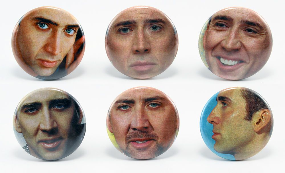 Nicolas Cage Set of 6 1.25'' Button Pins FOR GEOFF FOR CHRISTMAS AHHH!!!!!!!!!!!!!!