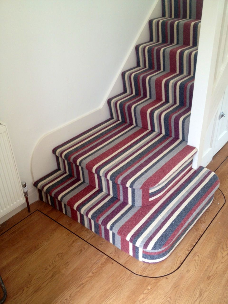 Unusual Red Gray Striped Stair Runner Russdales
