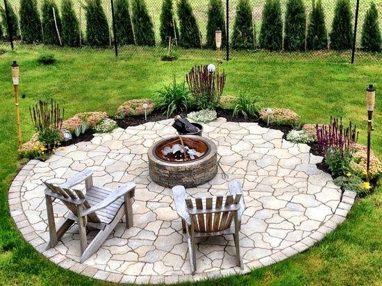 naturstein rund offene feuerstelle im garten | gartengestaltung, Garten Ideen