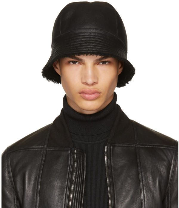 4128392a543 Rick Owens Black Shearling Gilligan Bucket Hat
