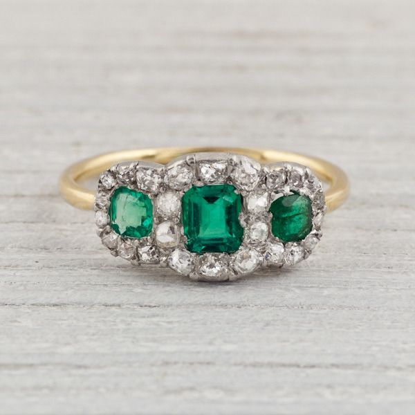 emerald wedding may engagement gold wishbone band jewelry anniversary ring unique vintage media birthstone yellow estate