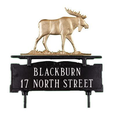 Montague Metal Products Two Line Lawn Address Sign with Moose Finish: Swedish Iron