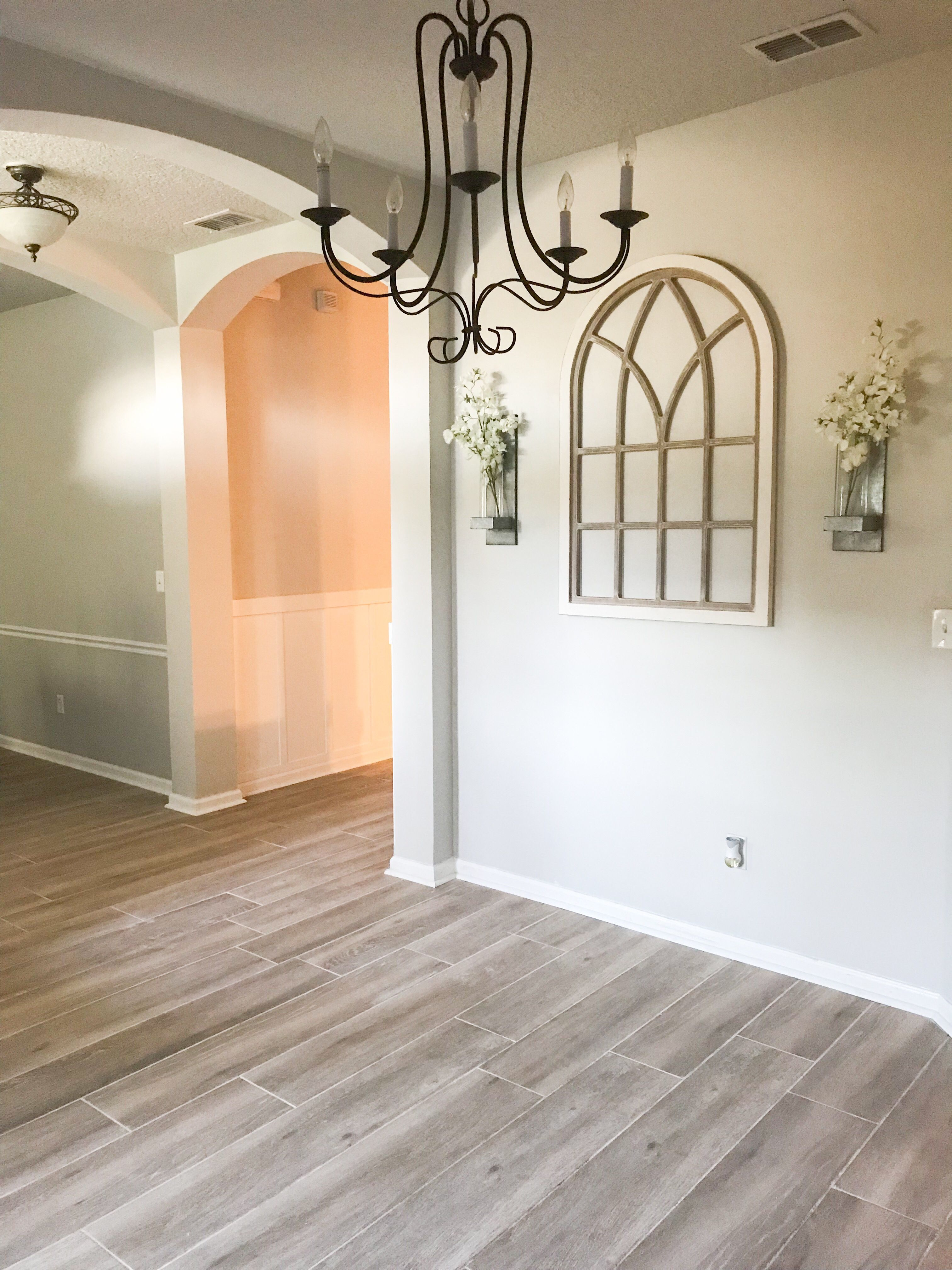 Home Remodeling Farmhouse flooring, Dining room wall