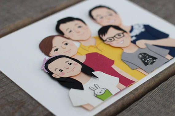 Custom Family Portrait // Framed Paper Portrait. F