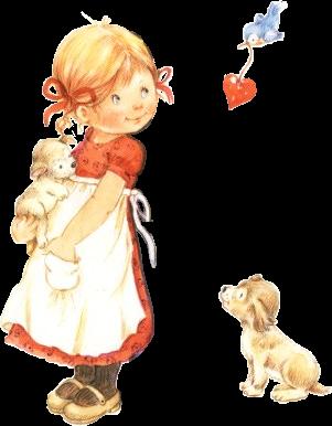 Lisi Martin - bluebird carrying red heart to little girl