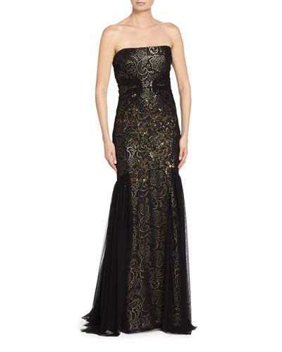 B3DT4 Badgley Mischka Strapless Lace Gown, Black/Gown